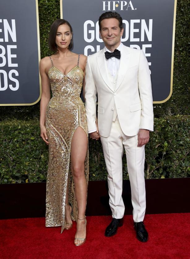 Irina Shayk, left, and Bradley Cooper arrive at the 76th annual Golden Globe Awards (Jordan Strauss/AP)