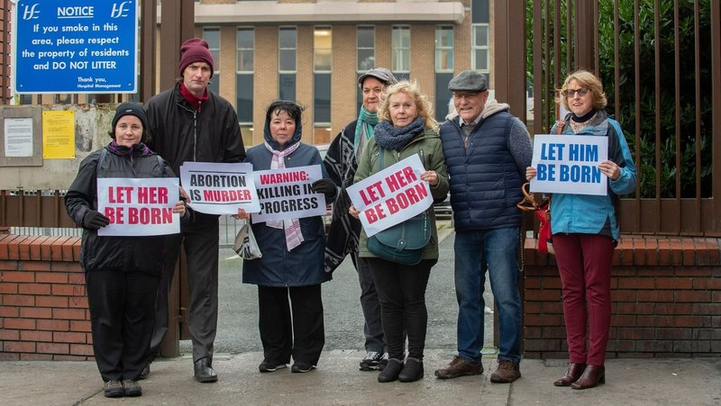 Protesters gathered outside Our Lady of Lourdes Hospital, Drogheda