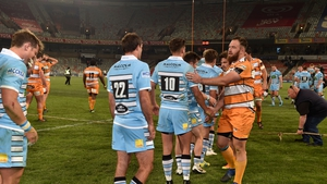 The Cheetahs and the Glasgow Warriors at the end of this season's Pro14 game in  Bloemfontein