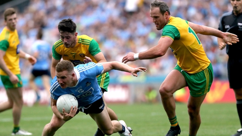 Ryan McHugh, left, and Michael Murphy in action against Dublin the the All-Ireland quarter-finals series last year