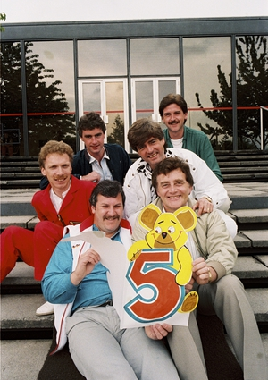 RTÉ Radio 2'a fifth birthday in May 1984 with (clockwise) Marty Whelan, Jimmy Greeley, Larry, Ronan Collins, Jim O'Neill, and Dave Fanning