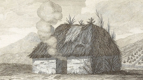 An Irish cabin c.1790 by draughtsman Arthur Young. From Ireland Illustrated 1680-1860 Archives at Moore Institute, NUI Galway