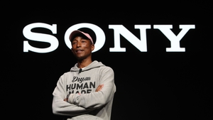 Recording artist Pharrell Williams speaks during a Sony press event for CES 2019 at the Las Vegas Convention Centre