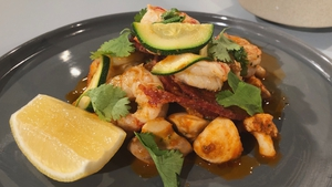 Wade Murphy's Mediterranean Style Prawns with Chorizo, Courgettes, Cauliflower & Mushrooms.