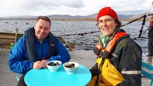 Neven with Mussel famer Michael Mulloy in Clew.