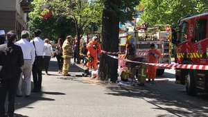 Hazmat and fire crews work outside the Indian and French consulates in Melbourne