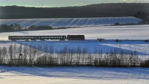A passenger train is pictured in the snow-covered Bakony region near Epleny, some 120km southwest of Budapest, Hungary