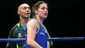 Pete Taylor (L) with daughter Katie during the 2014 EUBC European Women's Boxing Championships