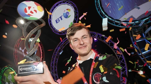 Adam Kelly from Skerries celebrates with his award at the RDS