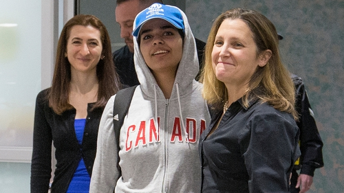 Rahaf Mohammed Al-Qunun  is met by Canadian Foreign Affairs Minister Chrystia Freeland at the airport in Toronto