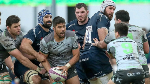 Connacht's Jarrad Butler gets swallowed up at the Sportsground