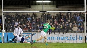 Dublin goalkeeper Andy Bunyan saves a penalty