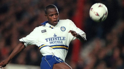 Phil Masinga in action for Leeds against Arsenal in 1994