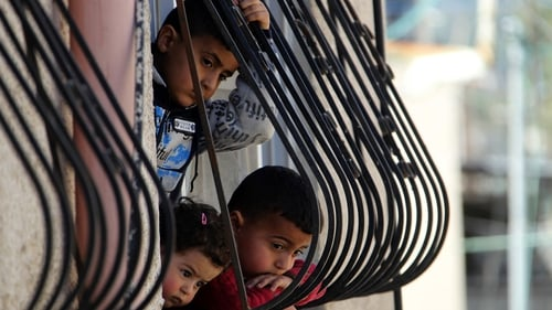 Palestinian children in the Jenin Refugee Camp in the West Bank