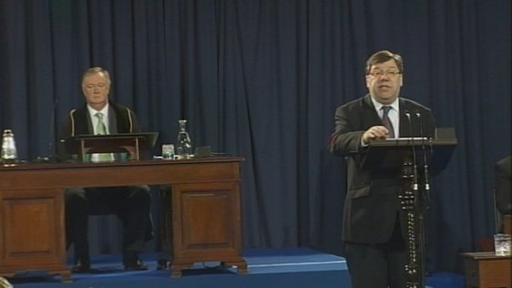 The Taoiseach Brian Cowen at the 90th anniversary of the meeting of the first Dáíl.