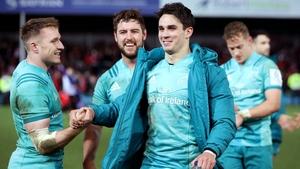 Munster players celebrate victory over Gloucester at Kingsholm