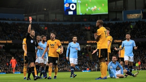 Wolves' Willy Bolywas dismissed after 19 minutes for a sliding tackle on Bernardo Silva