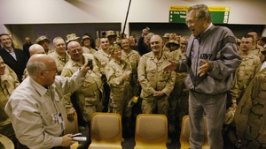 US Defense Secretary Donald Rumsfeld speaks to US troops at Shannon Airport in February 2004. Photo: Jason Reed/AFP/ Getty Images