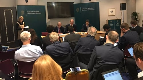 Ministers Shane Ross, Simon Coveney and Simon Harris brief the press