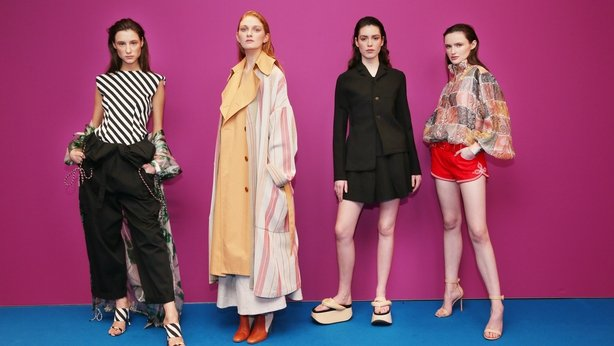 Paula Pancer wears Dries Van Noten black cargo trousers €750, Aine O'Gorman wears Roksanda striped coat €3,310, Louise Byrne wears Jil Sander black blazer €1,450 & skirt €690 and Maria Traynor wears Zimmermann patchwork blouse €650 & red shorts €550 on Tuesday, 15th January, as Brown Thomas unveiled the brand new Spring Summer 2019 International Designer Collections with Ireland's top models Laura O'Grady and Maria Traynor.  From New York and London to Milan and Paris, Spring Summer 2019 showcases a vibrant, versatile and colourful season. The new season brings a spectrum of newness from the glamourous 'All Dolled Up' to the pared-back 'Down to Earth'. The hottest, most exciting new ready-to-wear brands to arrive at Brown Thomas for SS19 include Jil Sanders, Kitri, MM6, Rejina Pyo, Rotate, Stine Goya, Comme Des Garcon Girl, Kenzo and Preen Line. Photograph: Leon Farrell / Photocall Ireland