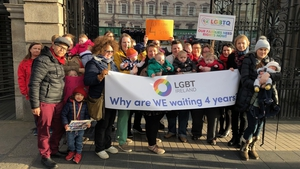 Minister for Social Protection Regina Doherty met those gathered outside Leinster House