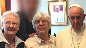 Abuse survivors Marie Collins (L) and Bernadette Fahy with Pope Francis in Dublin last August