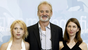 Lost in Translation stars Scarlett Johansson and Bill Murray pictured with Sofia Coppola in 2003