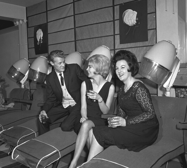 Model and television presenter Olive White (centre) at her engagement party in Dublin in 1963.