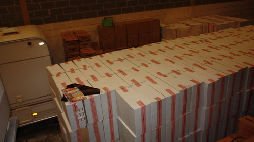 Revenue and Customs officers discovered 7 million non-UK duty paid cigarettes packed in cardboard boxes