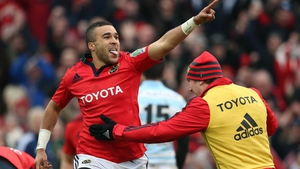 Simon Zebo celebrates during the 2013 defeat of Racing Metro