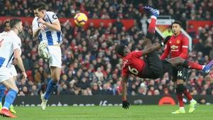 Paul Pogba's acrobatic effort was deflected wide