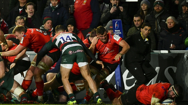 Marty Moore goes over for Ulster's first try against Leicester Tigers at Welford Road
