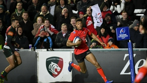 Robert Baloucoune scores Ulster's second try against Leicester Tigers