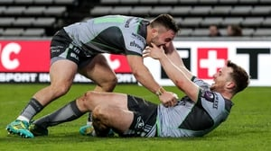 Connacht's Jack Carty celebrates his try with Caolin Blade