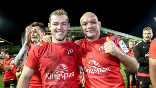 Will Addison and Rory Best celebrate their win