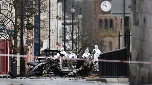The scene of Saturday night's car bomb attack after which a number of security alerts followed