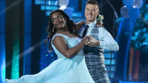 Demi Isaac Oviawe and her Dancing with the Stars partner Kai Widdrington.