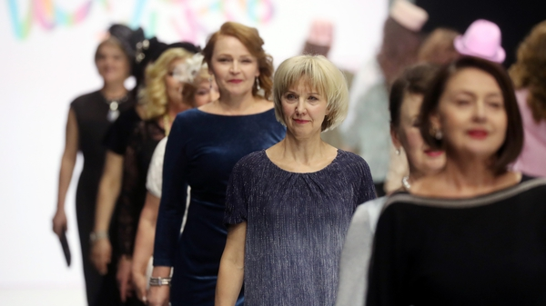 Models from the Vozrastnet (Ageless) modelling agency showing clothes from Dmitry Vinokurov's collection for older women at Moscow Fashion Week. Photo: Vyacheslav Prokofyev\TASS via Getty Images