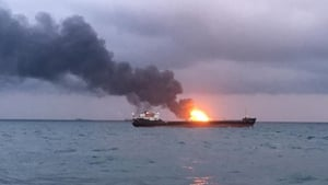 A vessel burning in the Kerch Strait between the Crimean and Russian borders earlier this year