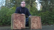 Arthur Brand, who has been dubbed as the 'Indiana Jones of the art world', with the carvings before handing them into the Spanish Embassy in London