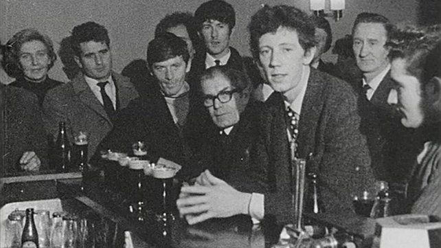 Reporter Colin Bird and patrons in O'Hagan's Pub (1969)