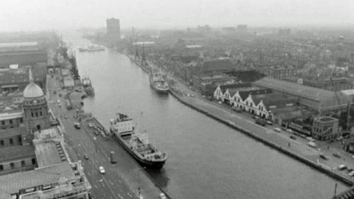 An aerial view of Dublin Port in 1969