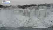 RTÉ News: Frozen scenes at Niagara Falls