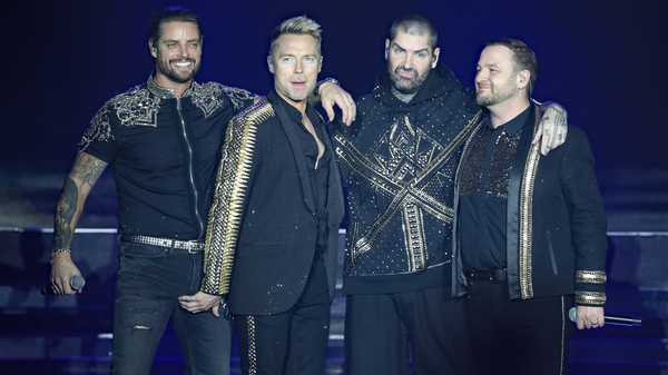 Keith Duffy, Ronan Keating, Shane Lynch and Mikey Graham of Boyzone on stage at the SSE Arena, Belfast, image via PA