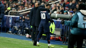 Neymar was consoled by manager Thomas Tuchel as he left the pitch during their 2-0 French Cup win over Racing Strasbourg