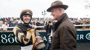Ruby Walsh with Willie Mullins in the parade ring after winning with Invitation Only