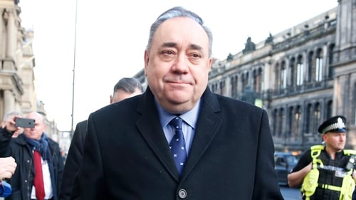 Alex Salmond is pictured outside court in Edinburgh
