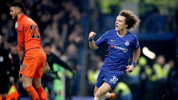David Luiz celebrates his winning penalty at Stamford Bridge