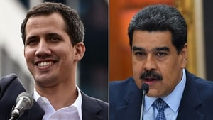 The countries issued an ultimatum to Nicolas Maduro (R) saying they would recognise Juan Guaido (L) if elections were not called