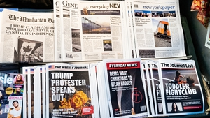 Newspapers containing fake headlines and stories displayed on a New York newsstand by the Columbia Journalism Review to educate news consumers about the dangers of misinformation. Photo: Michael Brochstein/SOPA Images/LightRocket via Getty Images